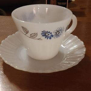 Vintage Termocrisa Milk Glass Cup and Saucer